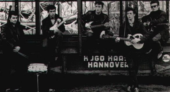 Pete Best, left, in the original Beatles' lineup in Hanover, Germany, in 1961.