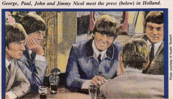 George, Paul, John and Jimmy Nicol meet the press (below) in Holland.