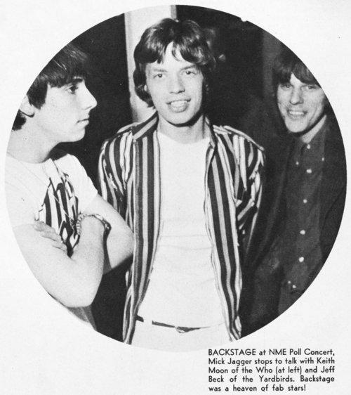 Keith Moon, Mick Jagger and Jeff Beck